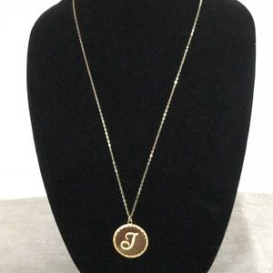Moon and Lola monogrammed J necklace